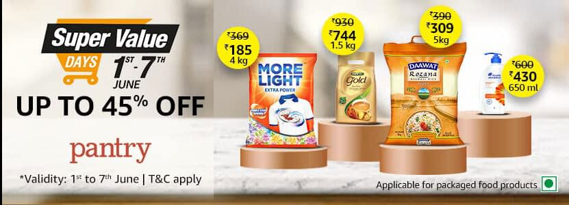 Get upto 45% off on Pantry
